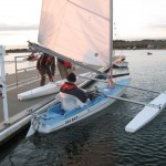 Challenger disabled sailing boat at Farmoor - getting ready to sail